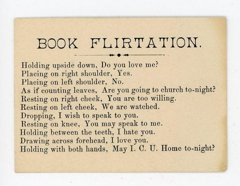 Как флиртовать с помощью книг: инструкции из викторианских открыток 1