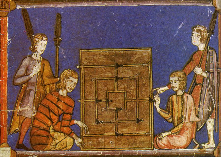 Иллюстрация из трактата Libro de los Juegos Альфонса X, на которой изображены мужчины, играющие в «Мельницу». Из открытых источников